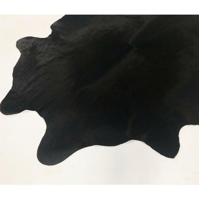 Modern Black Brazilian Cowhide Rug For Sale - Image 3 of 4