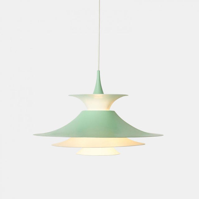 A Pendant Lamp by Erik Balslev for Fog & Morup. Green and white Lacquered aluminum.