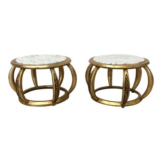 Round Gold Leaf and Italian Marble End or Coffee Tables - A Pair