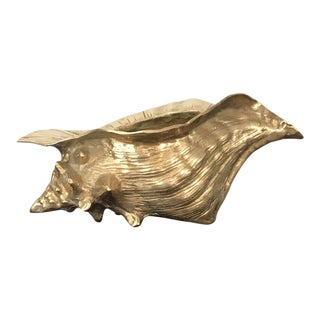 Vintage Brass Conch Shell Centerpiece Planter Heavy Door Stopper For Sale