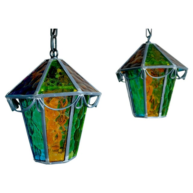 Danish Cast Iron & Multicolor Glass Pendants- Pair - Image 1 of 7