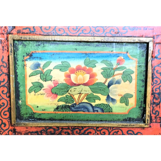 Antique Hand Painted Tibetan Chest For Sale - Image 9 of 10
