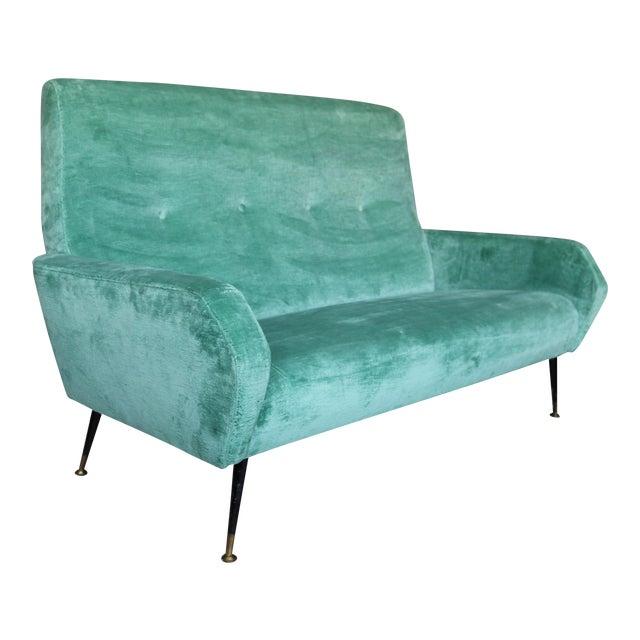Mid-Century Italian Aqua Velvet Sofa - Image 1 of 7