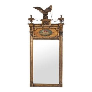 English Adam Style Gilt Wood Eagle Pediment Wall Mirror For Sale