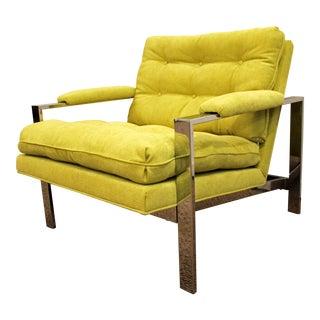 Mid-Century Lounge Chair Milo Baughman Thayer Coggin Chrome Cube For Sale