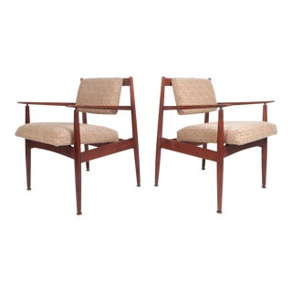 1960d Mid-Century Modern Jens Risom Design Walnut Lounge Chairs - a Pair