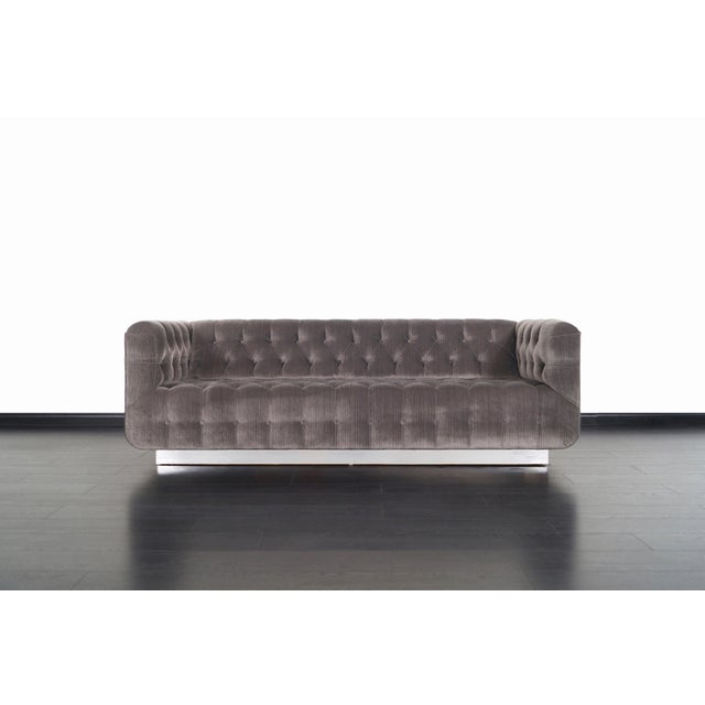 1980s Vintage Tufted Chrome Sofa by George Kasparian For Sale - Image 5 of 10