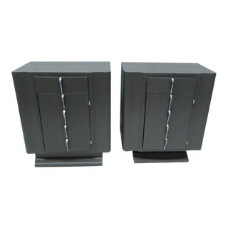 1960s Art Deco Wood Nightstands - a Pair For Sale