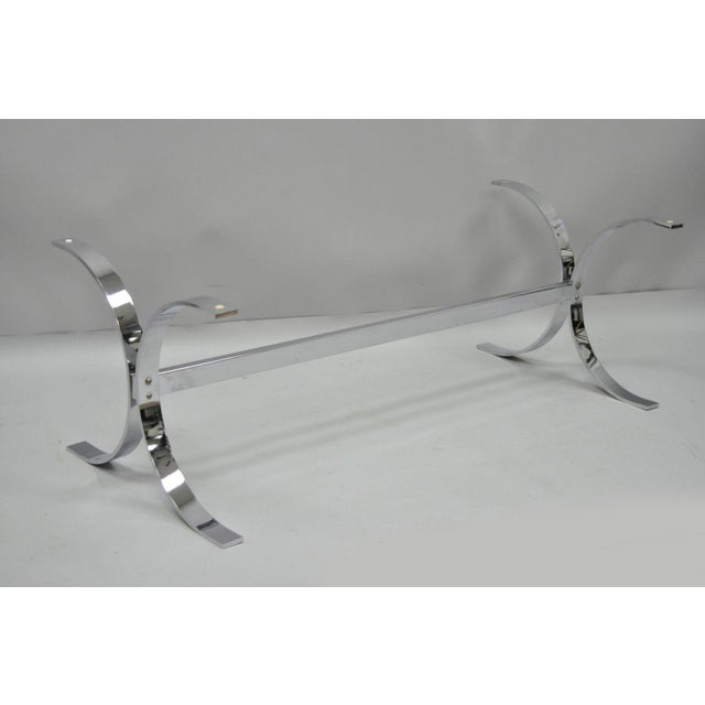 Mid-Century Modern Chrome Butterfly Base Glass Top Coffee Table Baughman Style For Sale - Image 10 of 12