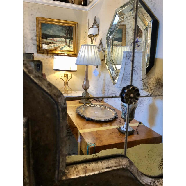 Metal Hollywood Regency Style Wall Mirror Silver Overlay Decorated Midcentury For Sale - Image 7 of 11