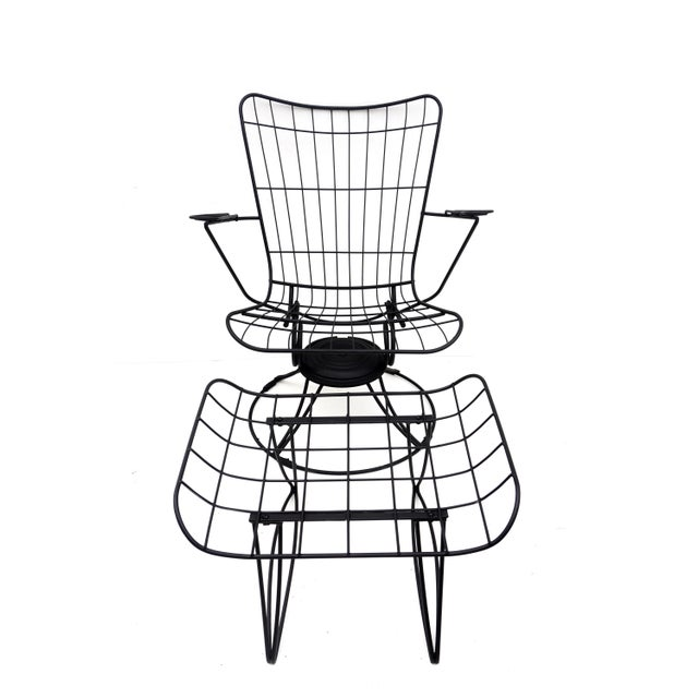 Mid-Century Homecrest Metal Wire Patio Chairs & Ottoman    Indoor/Outdoor High Back Swivel Rocker Lounger Footstool Original Cushions Included For Sale In Los Angeles - Image 6 of 10