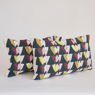 Art Deco West Elm Geometric Beaded Pillow Covers - a Pair Preview
