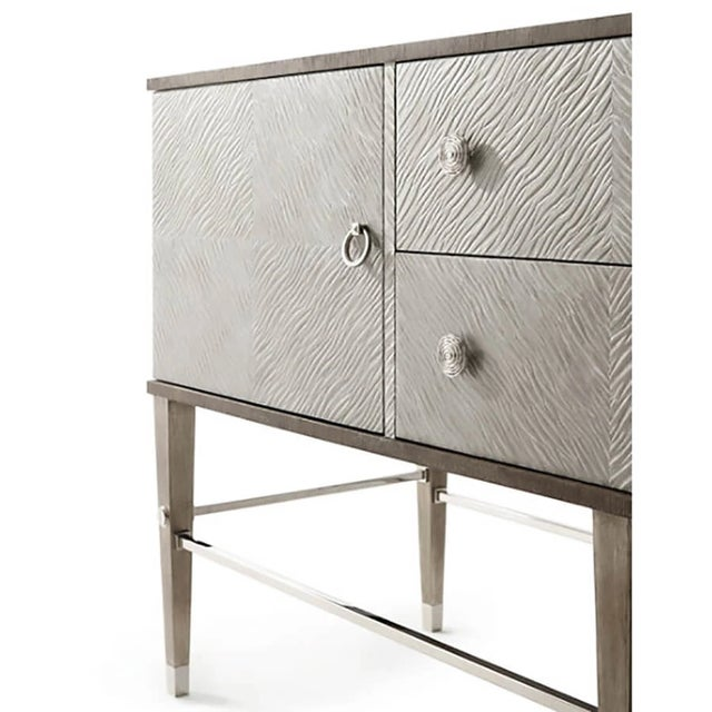 Modern Leather and Oak Console Cabinet For Sale In Charlotte - Image 6 of 8