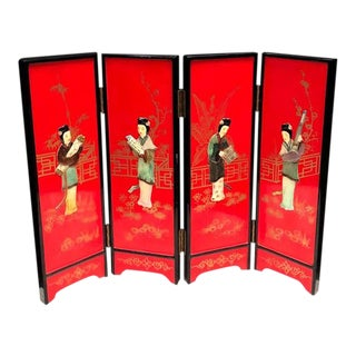 Asian Lacquered Tabletop Divider Screen For Sale