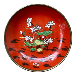 Asian Lotus Flower Porcelain and Brass Catchall Dish For Sale
