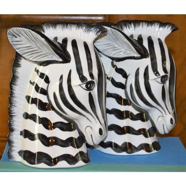 Boho Chic 1970s Boho Chic Fitz & Floyd Porcelain Zebra Bookends - a Pair For Sale - Image 3 of 10