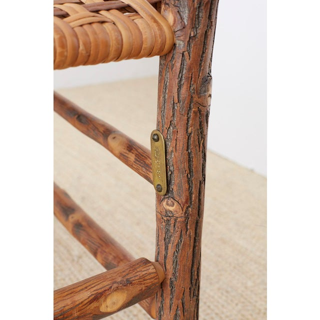 Wood Set of Six Old Hickory Twig Hoop Adirondack Armchairs For Sale - Image 7 of 13