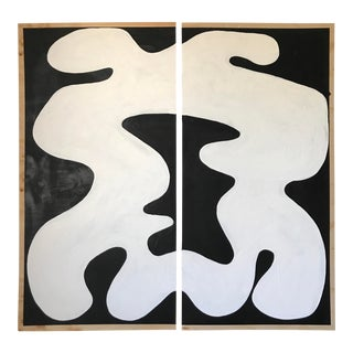 Hannah Polskin Abstract Butterfly Monochrome Diptych - 2 Pieces For Sale