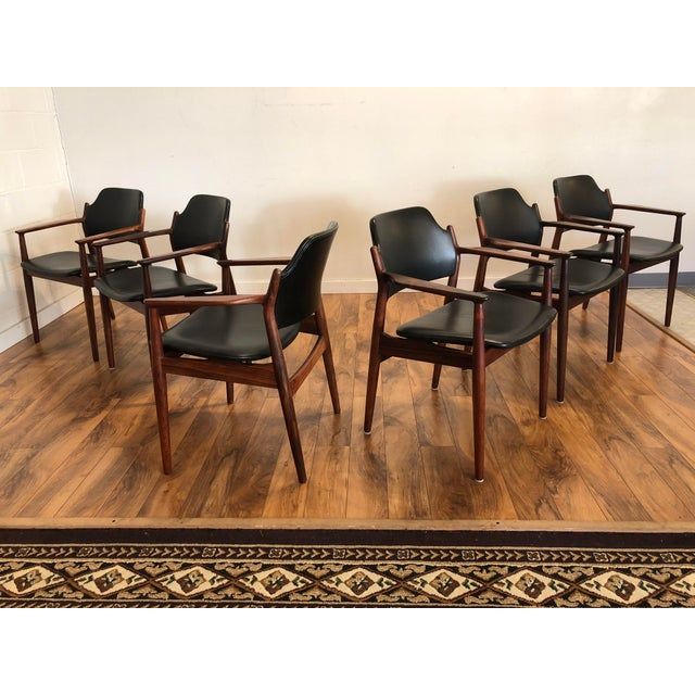 Mid-Century Modern Rosewood Chairs by Arne Vodder for Sibast Furniture, Made in Denmark, Set of 6 For Sale - Image 3 of 13