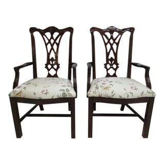 Thomasville Solid Mahogany Chippendale Dining Arm Chairs - a Pair For Sale