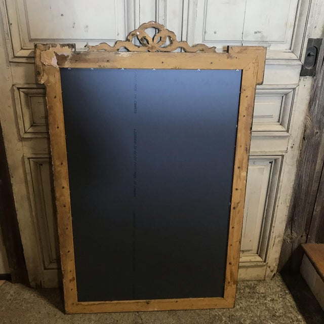 Gold Large French Antique Giltwood Mirror With Ribbon Bow For Sale - Image 8 of 12