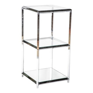 Chrome Over Iron Glass Shelved Etagere For Sale
