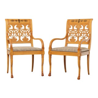 Classical Duncan Phyfe Empire Style Pair Blonde Wood Armchairs For Sale