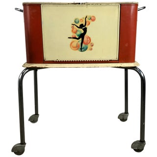 Art Deco Portable Rolling Dry Bar For Sale