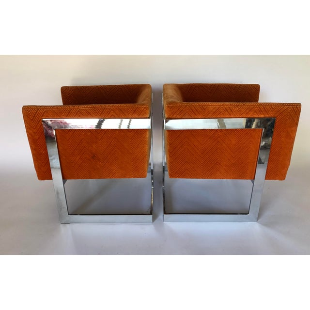 1970s 1970s Mid-Century Modern Milo Baughman T-Back Chrome Lounge Chairs - a Pair For Sale - Image 5 of 12