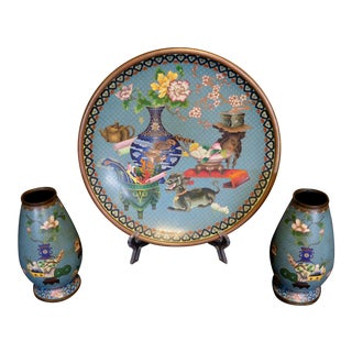 Antique Chinese Enameled Cloisonne Charger & Vases - Set of 3