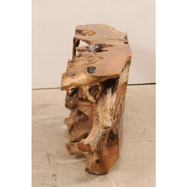 A unique teak tree root console table. This wooden console table has been custom fashioned from a large cut section of old...