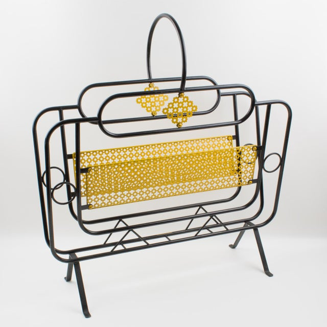 Mathieu Mategot Style Metal Magazine Holder Rack For Sale - Image 13 of 13
