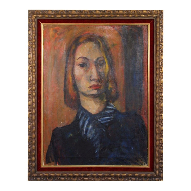 Framed Oil on Canvas Portrait Painting Signed by Annette Dufresne For Sale