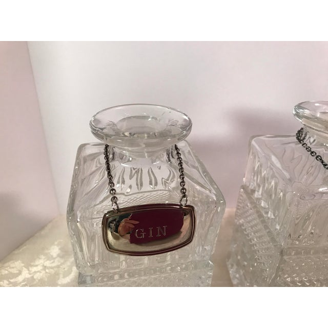 Crystal Mid-Century Modern Crystal Decanters With Hanging Tags - Set of 4 For Sale - Image 7 of 11
