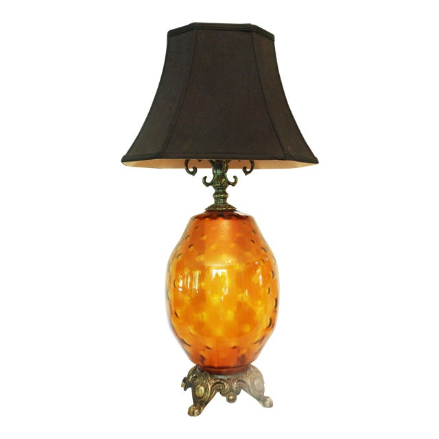 Large Mid-Century Amber Glass Table Lamp and Shade - Image 1 of 5