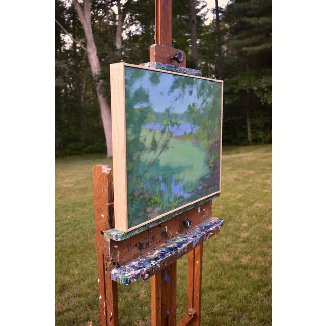 """Blue Stephen Remick """"Ocean Through the Trees"""" Contemporary Plein Air Painting For Sale - Image 8 of 12"""