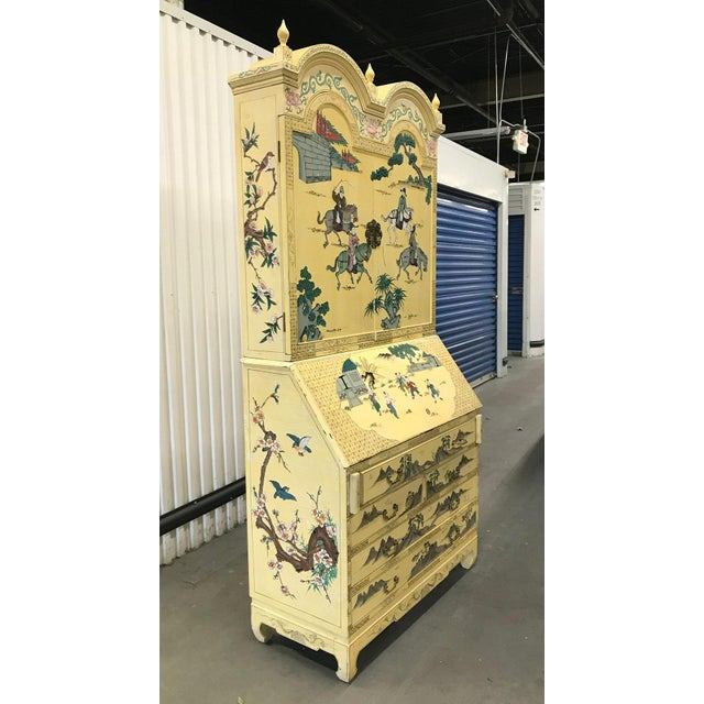 Asian Vintage Chinoiserie Hand-Painted Secretary For Sale - Image 3 of 12