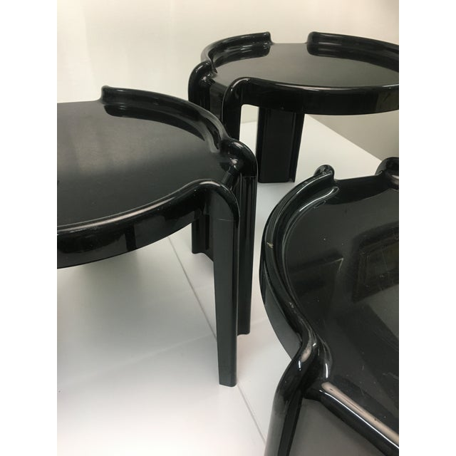 1970s Vintage Black Plastic Nesting Tables by Giotto Stoppino for Kartell - Set of 3 For Sale - Image 5 of 13
