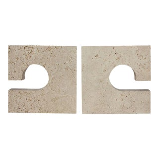 Mid-Century Flli Mannelli for Raymor Italian Travertine Bookends - A Pair