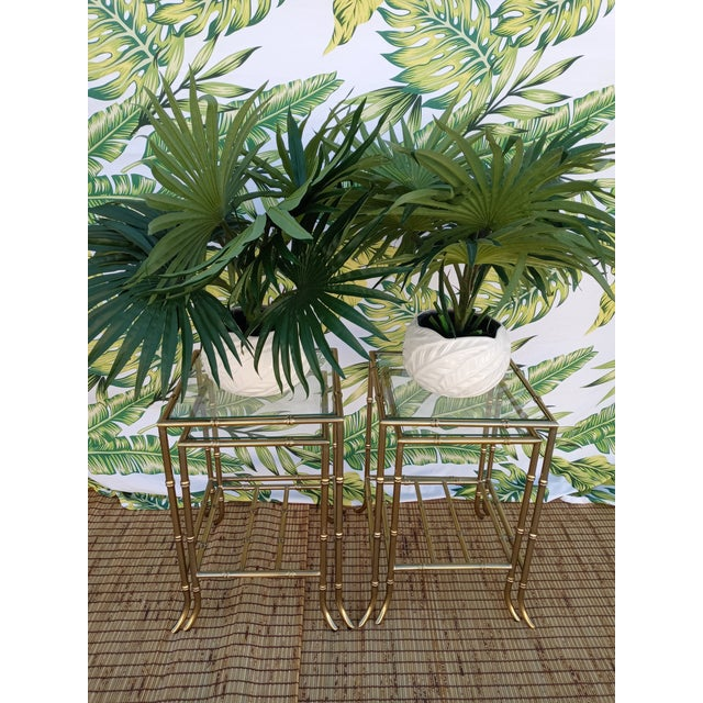 Palm Beach Regency Gold Faux Bamboo Square Set of 4 Glass and Metal Nesting Tables For Sale In West Palm - Image 6 of 10