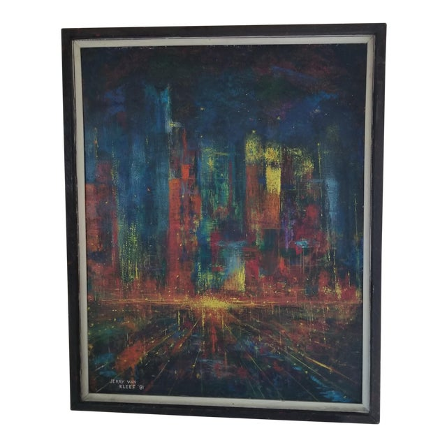 Vintage Brutalist Stylized Cityscape Painting For Sale