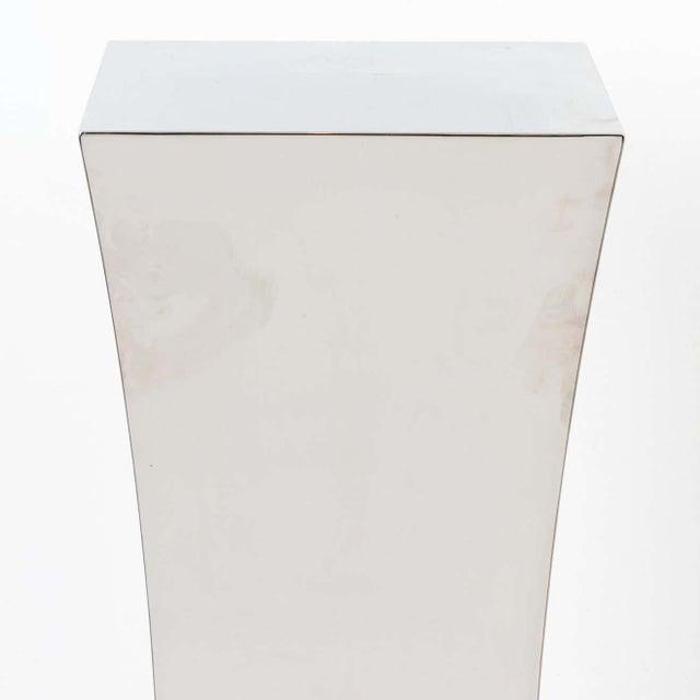 Polished Nickel Concave Pedestal For Sale - Image 4 of 11
