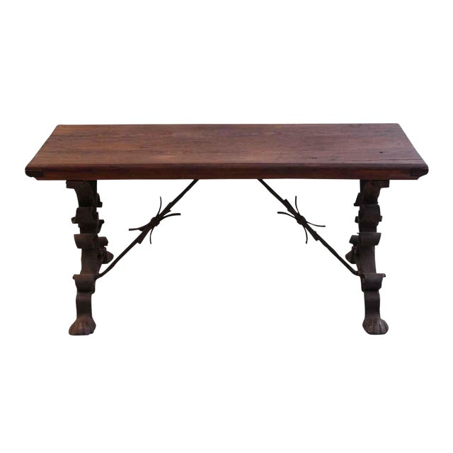 20th Century Traditional Wooden Bench With Wrought Iron Legs For Sale