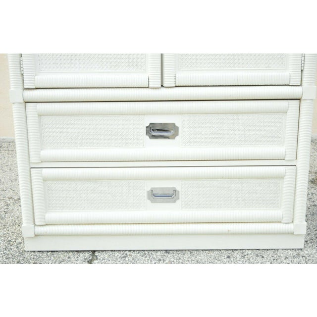 Dixie Vintage Dixie Cane Rattan Campaign Style White Tall Chest Armoire Dresser Cabinet For Sale - Image 4 of 13