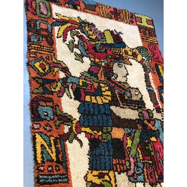 Mid Century Aztec Warrior Shag Rug For Sale - Image 10 of 12