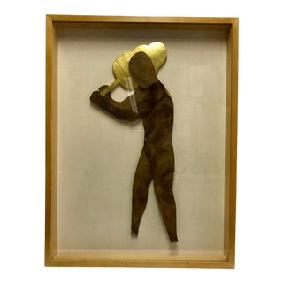1990s Figurative Framed Woodcut and Gold Leaf Sculpture For Sale