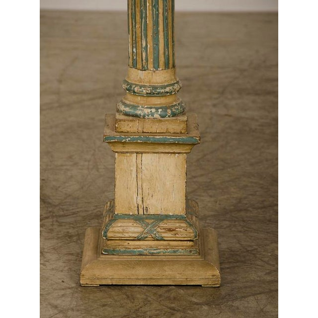 Paint 19th Century Italian Neoclassical Carved Wooden Original Painted Finish Candle Stand For Sale - Image 7 of 8