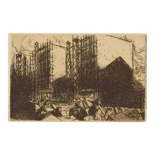 "1912 Julien Lemordant ""Maisons en Construction Houses"" Aquatint Etching For Sale"