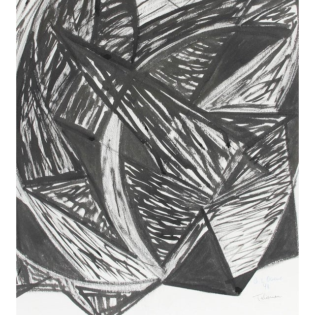 "This 1998 ink and charcoal on paper abstract entitled ""Talisman"" is by French-American painter Georgette London Owens (b...."
