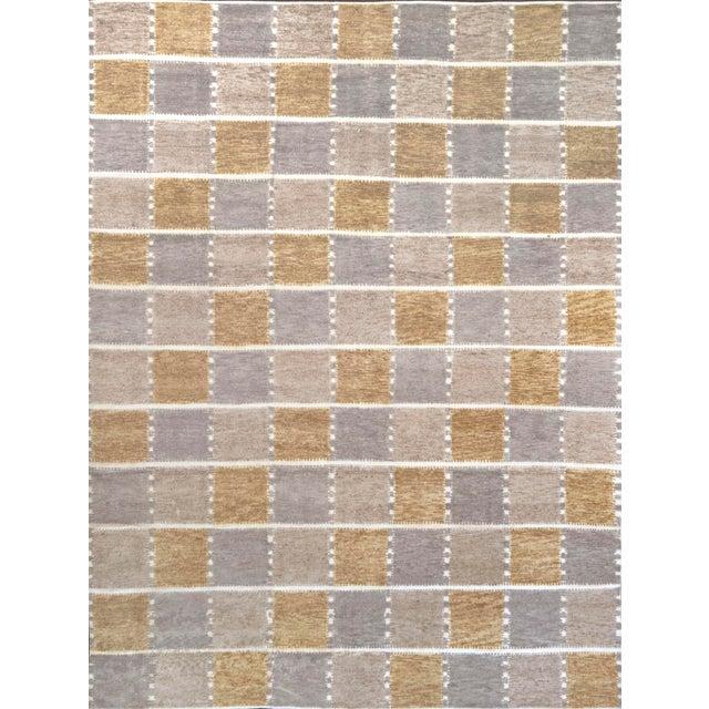 Gray Handwoven Swedish Inspired Flatweave Wool Rug For Sale - Image 8 of 8